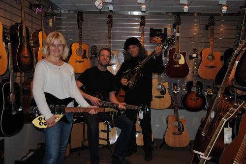 jamming with Sean and Nick at the Guitar Boutique