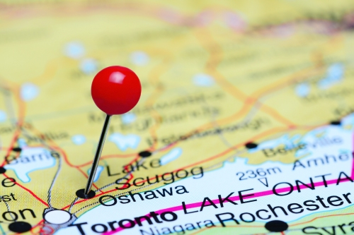 Oshawa pinned on a map of Canada